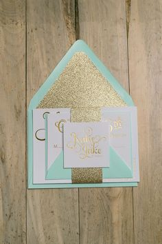 Fabulous Sparkly Mint and Gold Glitter Foil Stamped Wedding Invitations by Just Invite Me