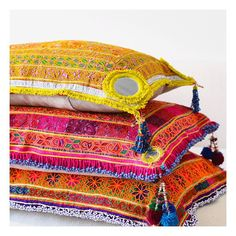 Stacks on 😘 Xx #sageandclare #cushions #cushion #embroidery #tribal #afghani #stack #vintage #embroidery #beadwork #mirrorwork #pashtun #tribal #afghani #afghanistan #textiles #colourful #oneofakind #handmade #artisanal