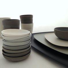 Studio Enti tableware working beautifully with our new Namaste trays by Kartell. antlerandmoss.com #ceramics #spacefurniture #tableware #antlerandmoss #australianceramics #grey #kartell #homewares @studio_enti #porcelain #design