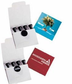 Pebble golf tools in matchbook container (4 tees & 1 ball marker)