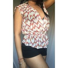 Chiffon Peplum Blouse Such a cute top that can be worn many ways. Flows and airy for summer. Worn a couple times but like new. Feel free to ask any questions, including styling advice!  a.n.a Tops Blouses