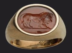 Carnelian Intaglio and Gold Ringstone with lion  Roman, Imperial Period, 1st or 2nd century A.D.