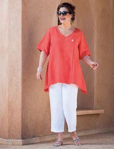 Plus size Tipton Orange Linen Top