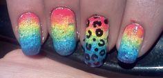 Rainbow and Leopard Print Nail Art