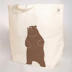 Be The Bear Screen Print Post-Industrial Recycled Cotton Tote Eco Bag Grocery.
