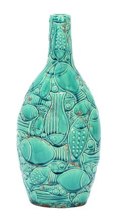 Beautiful Ceramic Vase Turquoise Aqua Carved Fish Ocean Home D | lamp | lighting, furniture | accents, home decor | accessories, wall decor, patio | garden, Rugs, seasonal decor,garden decor,home decor & accessories
