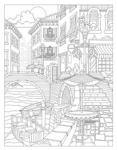 Beautiful Venice coloring page Adult Coloring Book Pages, Coloring Pages To Print, Free Coloring Pages, Printable Coloring Pages, Coloring Sheets, Coloring Books, Mandala Coloring, Artsy, Drawings