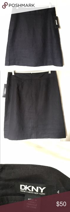 DKNY Black Linen Skirt, A-Line DKNY black linen skirt is A-line style, with two side pockets. Size 4. 100% linen, with liner. It measures 21 inches in length from the top of the waist band to the bottom. Dry clean only. This skirt is brand new and has never been worn. DKNY Skirts A-Line or Full