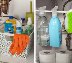 Keep most cleaners in a bin, but hang the ones you use most frequently on a tension rod for easy access.