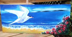 OUTDOOR Wall ART, Garden Art, New Zealand FAIRY Tern Bird,  Tara Iti, Print on Aluminium  from my original silk painting, weather proof  Art by KaySatherleyArt on Etsy Outdoor Wall Art, Outdoor Walls, Bird Paintings, Silk Painting, Amazing Nature, Garden Art, New Art, New Zealand, Fairy