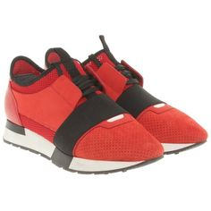 Pre-owned Sneakers in Red ($370) ❤ liked on Polyvore featuring shoes, sneakers, red, elastic shoes, pre owned shoes, genuine leather shoes, leather sneakers and real leather shoes