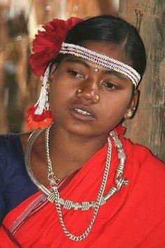 Gond tribe girls silver jwellery in bastar region