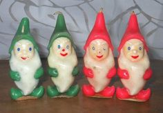 4 Vintage Gurley Elf Red and Green Christmas Candle w/ Labels Christmas Time Is Here, Christmas Past, Green Christmas, Retro Christmas, Christmas Goodies, All Things Christmas, Christmas Lights, Christmas Holidays, Christmas Ornaments