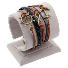 Various Styles Leather Bracelet Double Infinite Multilayer Charm Leather Bracelets Wholesale Anchor Owl Tower Charm Bracelets