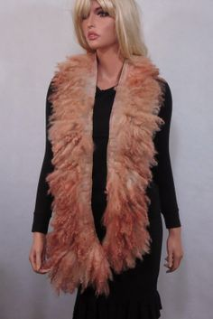 Felted collar Boa  Felted Scarf Long Raw Wool Fur Neck Warmer Collar OOAK