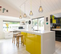 Tracy revives a kiwi icon | Habitat by Resene Apartment Therapy, Layout Design, Aluminium Joinery, Interior Inspiration, Design Inspiration, Design Ideas, Timber Walls, Yellow Ceiling, Acoustic Panels