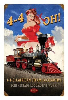 4-4-OH! Pin-up Metal Sign-Historic Rail