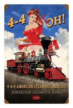 4-4-OH! Pin-up Metal Sign-Historic Rail