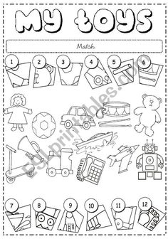 Resultado de imagem para toys worksheets for kids Vocabulary Worksheets, Kindergarten Worksheets, Worksheets For Kids, Free Preschool, Preschool Activities, Teaching English, English Class, Learn English, English Activities