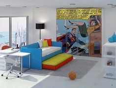 bedroom with superman comic on wall