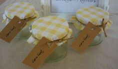 25 x DIY Rustic Wedding Favour Jars with Personalised Gift Tags. Gingham. | eBay