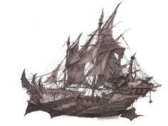 Fantasy Places, Fantasy World, Dark Fantasy, Fantasy Art, Arte Steampunk, Steampunk Airship, Bateau Pirate, Pirate Art, Treasure Planet