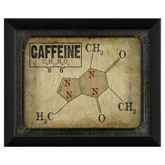 Caffeine Molecule Framed Print//