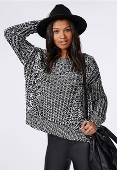 Anouska Cable Knit Slouch Jumper Monochrome - Knitwear - Missguided