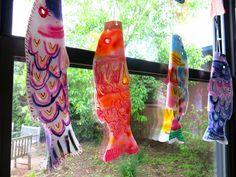 Cassie Stephens: In the Art Room: First Grade Koinobori for Children's Day! Kids Art Class, Art Lessons For Kids, Art For Kids, Collages, First Grade Art, Second Grade, Cassie Stephens, Collaborative Art Projects, Kindergarten Art Projects