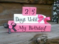 Birthday Countdown. Birthday blocks. Countdown.. $29.00, via Etsy.