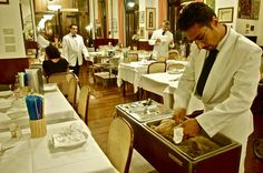 Bollito Misto (boiled meats) cart at the renowned Diana ristorante in Bologna, Italy, cucina Bolognese cuisine.