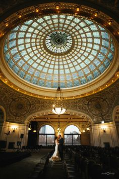 Chicago Cultural Center Post Wedding Trash the Dress, Tiffany Stained Glass #studiOsnap #chicago #wedding #photographer http://studi-osnap.com