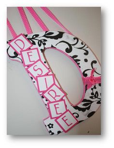 InspireMe Crafts: Decorated Wall Letters- Black and White, Hot Pink, Polka Dots
