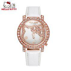 Fashion Brand Luxury Rhinestone Hello Kitty Watch Women Cartoon Watches Ladies Leather Quartz Watch Girl Hour reloj mujer