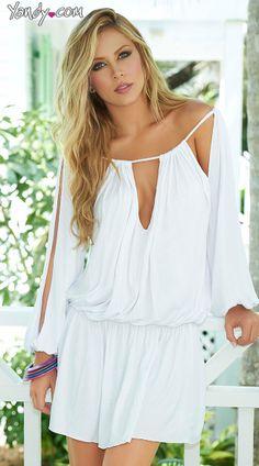 Draped Long Sleeve Summer Dress- yandy.com