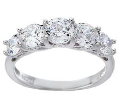 QVC Epiphany Sterling Diamonique 100 Facet 2.40 ct 5 Stone Ring Size 7.25 $300