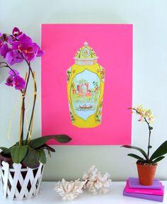 LARGE Porcelain Jar on Pink Canvas 18 x 24. $120.00, via Etsy.