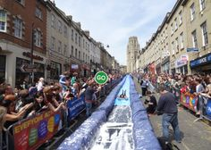 For one day only, British artist Luke Jerram transformed a street in Bristol's city centre into a huge water slide