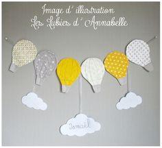 Guilande de montgolfières en tissu + nuages PERSONNALISABLE