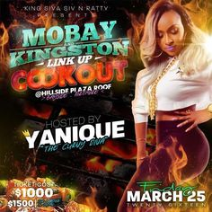 King Siva Siv$ rattyclericuzio -----------Presents-----------  #Mobay & #Kingston  Link Up Cook Out Friday March 25 @HillSide Plaza Roof BaySide ((((PortMore)))) Music By  Boom boom Six killa  Bumpy Cash  Trophy Sniper  Daxter Paper Fr #MoBay M  e  n U  #FryFish  #SteamFish  #JerkChicken  #CurryGoat  #Oxtail  #Lobster  #Pork  S I D E  O R D E R  #RiceAndPeas  #SpanishRice  #Bammy  #Festival  #MashPotatoe  #ColeSlaw  #RawVegetable  #FryPlaintain #Soup On the #House  Ticket $1000 ($1500 For…