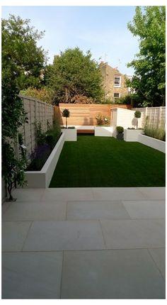 Back Garden Design, Modern Garden Design, Landscape Design, Modern Design, Contemporary Landscape, House Landscape, Back Garden Ideas, Small Garden Landscape, Contemporary Planters