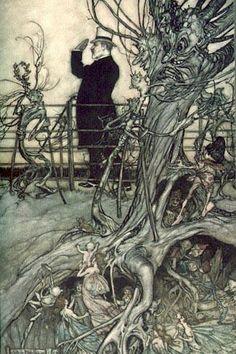 '木 と 妖精', 実例 バイ Arthur Rackham (1867-1939, United Kingdom)