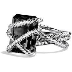 David Yurman Cable Wrap Ring with Black Onyx and Diamonds ($1,350) ❤ liked on Polyvore featuring jewelry, rings, silver, diamond wrap ring, david yurman rings, black onyx rings, diamond rings and diamond jewelry