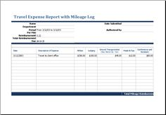 travel expense calculator template travel expense report with mileage log