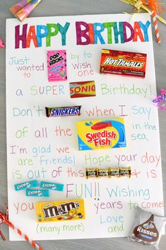 Candy Poster for a Birthday Need a super simple birthday gift for a friend? This candy poster works for any age, any gender and is super easy to put together! These cute sayings partnered with candy bars on a poster board makes a great gift! Birthday Gifts For Bestfriends, Cute Birthday Gift, Unique Birthday Gifts, Birthday Gifts For Girls, 50th Birthday, Birthday Surprise Ideas For Best Friend, 18th Birthday Gifts For Best Friend, Teacher Birthday Gifts, Father Birthday