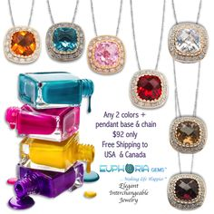 Any 2 colors + pendant base & chain $92 only!  Buy online at www.euphoriagems.com - Add any 2 Fiesta Xpressions to cart + add small pendant base & chain to cart - enter discount code Joyofgifting to get your discount. OR send us an email with your order at stores@euphoriagems.com Happy Shopping!!