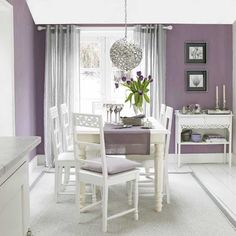 Cozy Interior Room Design Ideas With Purple Walls 13 interior Purple Rooms, Purple Walls, Purple Gray, Purple Kitchen Walls, Light Purple, Gray Walls, Light Colors, Dining Room Paint, Dining Room Furniture