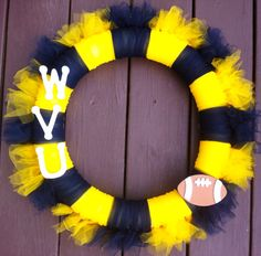 Something cool for football season!  WVU Wreath Tulle for Front Door West Virginia University Football on Etsy, $34.00