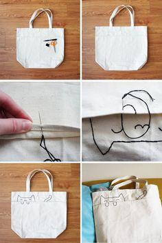 DIY: personalizar bolsos lona blanca