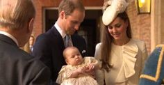 1 of 5=October 23, 2013 The Duke and Duchess of Cambridge arrive with their son, Prince George, for his royal christening at 3 months old. (His birthday July 22, 2013) This is so sweet! Such delighted and smugly proud-parent expressions. =o)